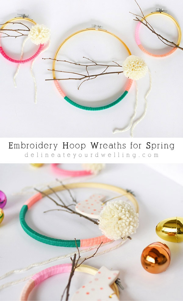 Easy to make Embroidery Hoop Wreaths for Spring time! Easy to make and so fun to customize to your perfect colors! Delineate Your Dwelling #embroideryhoopcraft
