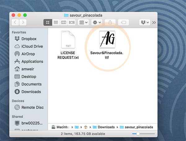 Install fonts on a Mac- step1