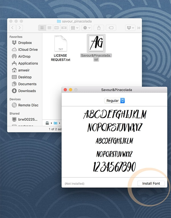 Install fonts on a Mac- step2