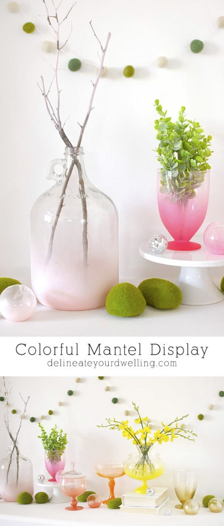 Create a Colorful DIY Spring Vase Mantel Display, Delineate Your Dwelling