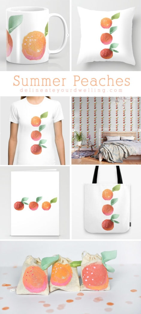 Adorable Summer Peaches!  Peaches on mugs, pillows, shirts and more! Delineate Your Dwelling