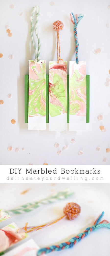 Easy DIY Marbled Bookmarks