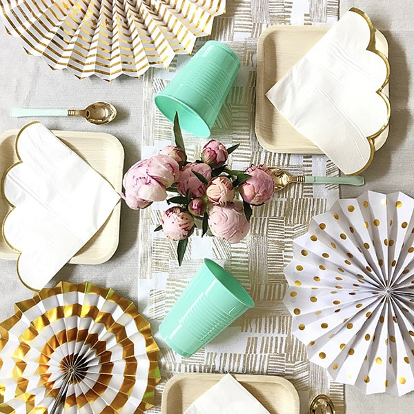 Set a Simple Neutral Baby Shower table - White, Gold and Mint Green table cloth, plates and napkins, Delineate Your Dwelling
