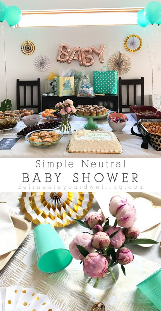 Simple Neutral Baby Shower ideas - White, Gold and Mint Green : Learn how to host a simple neutral baby shower with ease!  You can never go wrong with classic colors for either a boy or a girl. Delineate Your Dwelling #neutralbabyshower