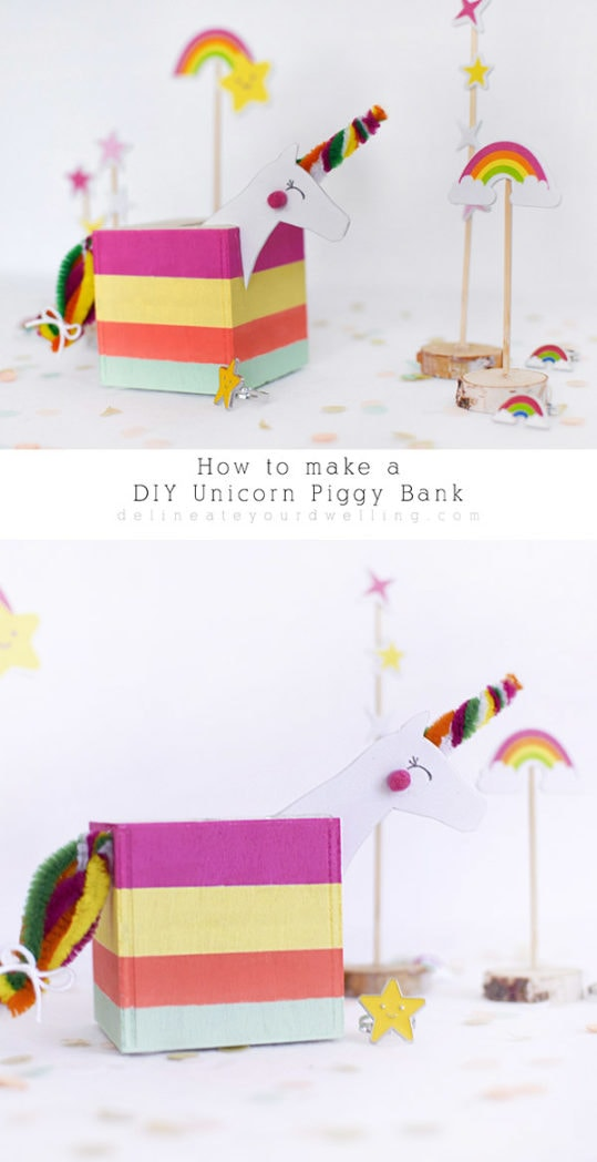 Simple steps on how to make a DIY Unicorn Piggy Bank for you or your children! It's fun to learn how to save money when you're saving it in a unicorn! Delineate Your Dwelling #DIYPiggyBank #DIYUnicornPiggyBank #UnicornPiggyBank #Unicorncraft