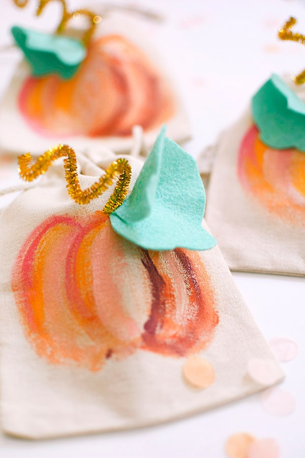 Colorful Painted Pumpkin Bags