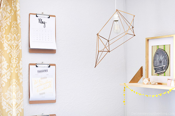 How to create an inexpensive and gorgeous Modern DIY Geometric Pendant Lamp using simple wooden skewers. Plus, it adds so much drama to your room! Delineate Your Dwelling #modernlamp #DIYlamp