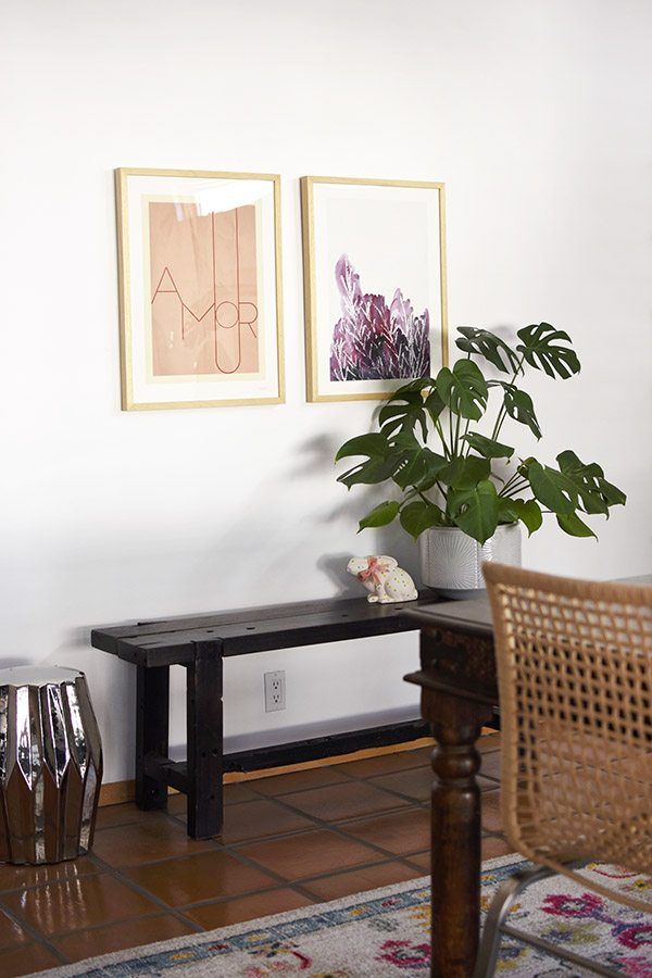 Dining Room with colorful artwork