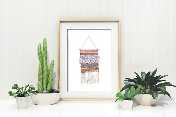 Enjoy a gorgeous Wall Weaving printable full of pattern and texture without any of the hassle from creating your own weaving!  So fun and easy and all you have to do is download. Delineate Your Dwelling #wallweaving #weavingprint #DIYprint