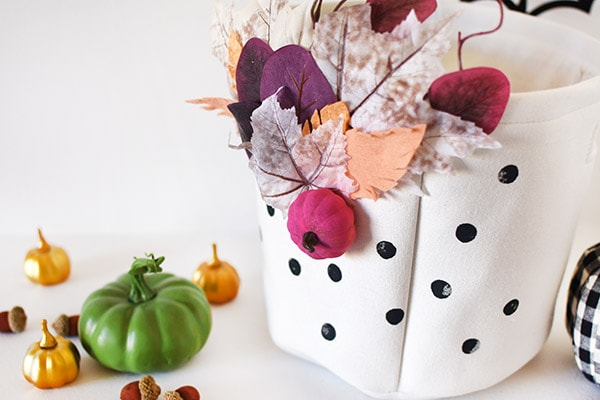 Colorful Fall Basket with black polka dots