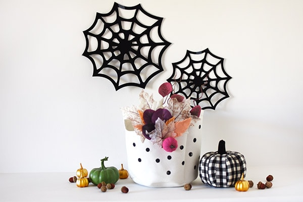 Fall Basket with black spider webs