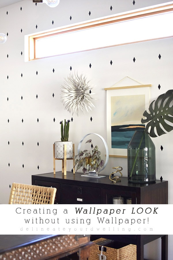 INSIDE : How to easily create a Wallpaper look without using Wallpaper! Check out how to make quick decals for an inexpensive professional accent wall look. Delineate Your Dwelling #diningroomaccent #accentwall