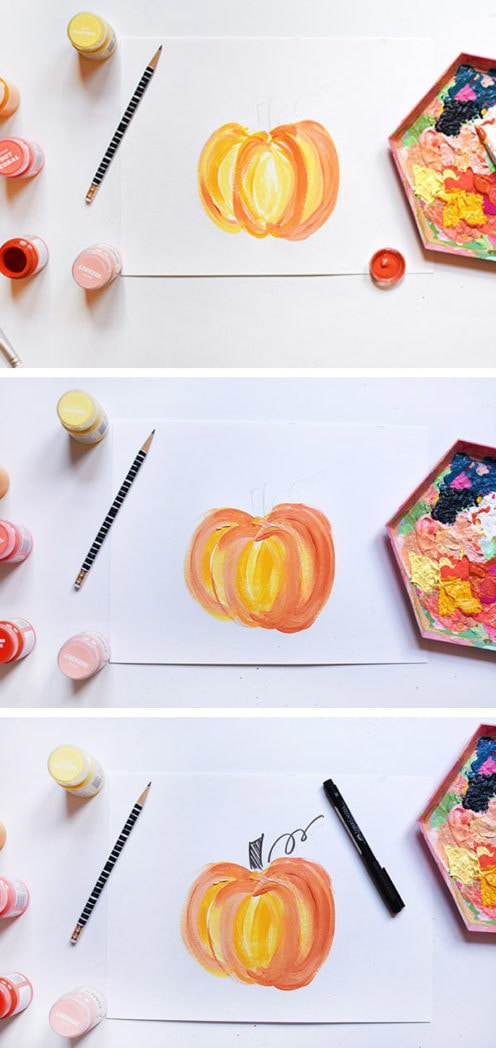 paint a Colorful Painted Fall Pumpkin