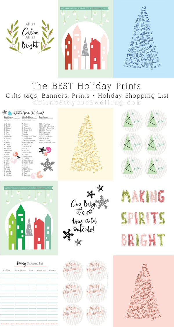Holiday Prints, Gift Tags, Banners and a Holiday Shopping List