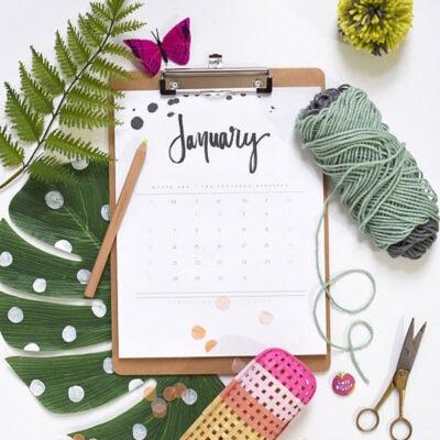 1-2019 FREE Hand Lettered Calendar