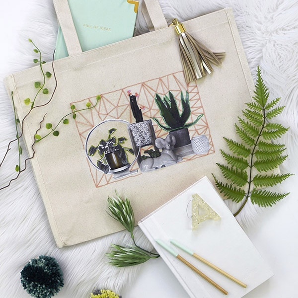 DIY Photo Embroidered Tote Bag