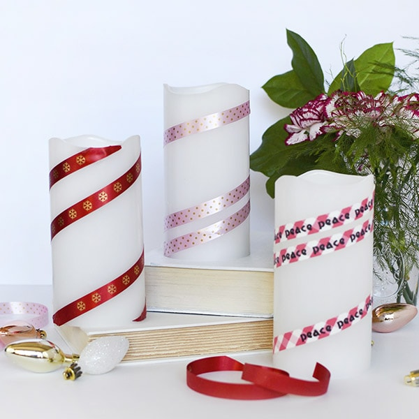 Elegant Holiday Ribbon Candles