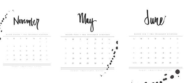 2019 FREE download Hand Lettered Calendar, Delineate Your Dwelling