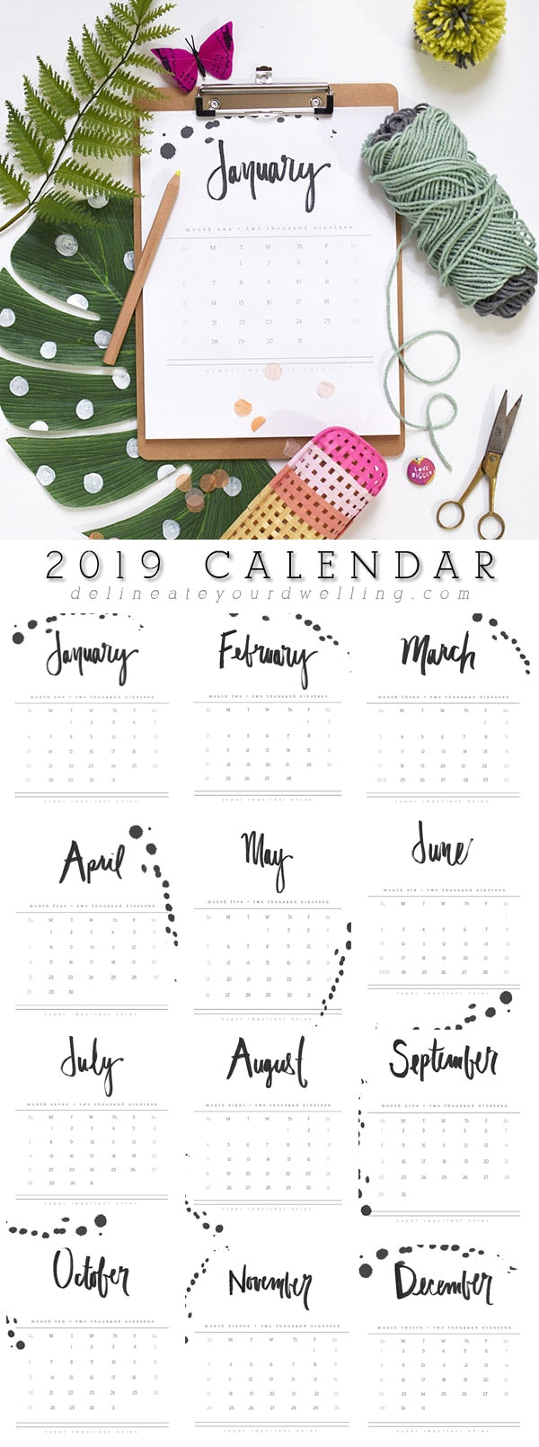 2019 Hand Letter Printable Calendar - Delineate Your Dwelling