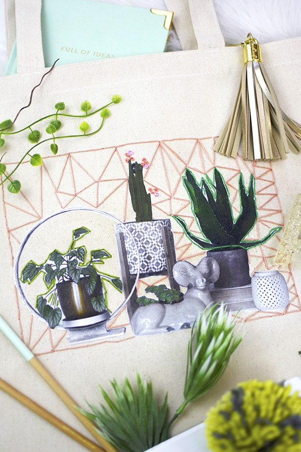 How to create a gorgeous Plant Embroidery Tote Bag. Delineate Your Dwelling #embroiderycraft #totebagcraft