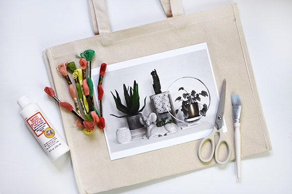 Plant Embroidery Tote Bag-supplies