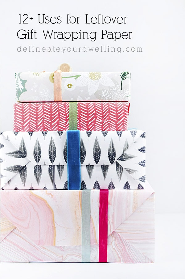 Uses for leftover Christmas gift wrap, Delineate Your Dwelling #afterChristmas