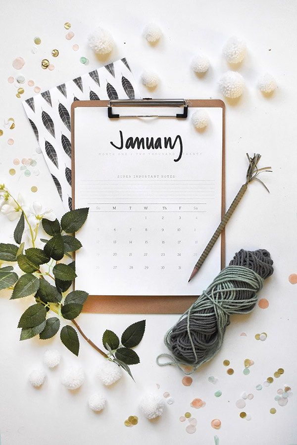 2020 FREE Hand Lettered Calendar