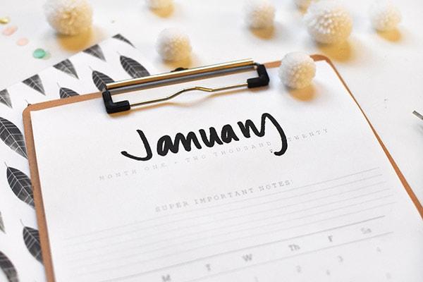2020 FREE Hand Lettered January Calendar