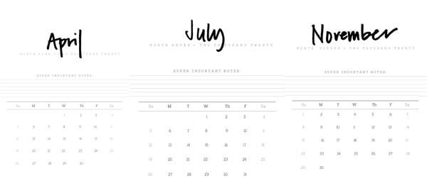 2020 FREE Hand Lettered Printable Calendar