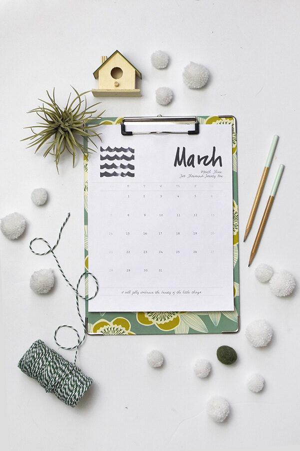 Free March 2021 Printable Calendar