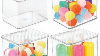 Clear Stackable Plastic Craft Storage Container Bin with Attached Lid