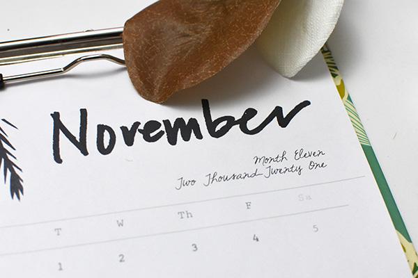Free November 2021 Printable Calendar