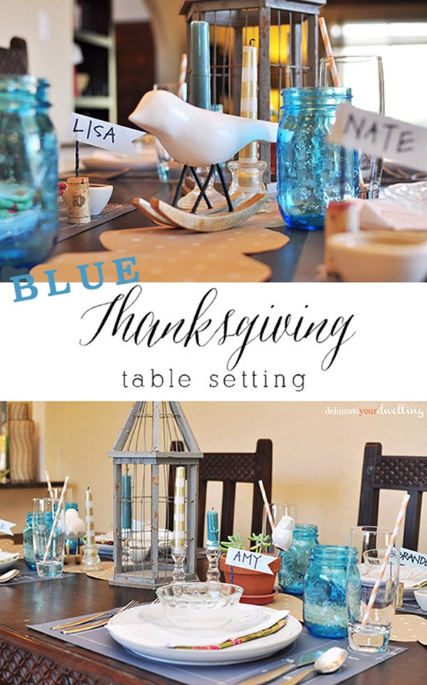 BLUE thanksgiving day table