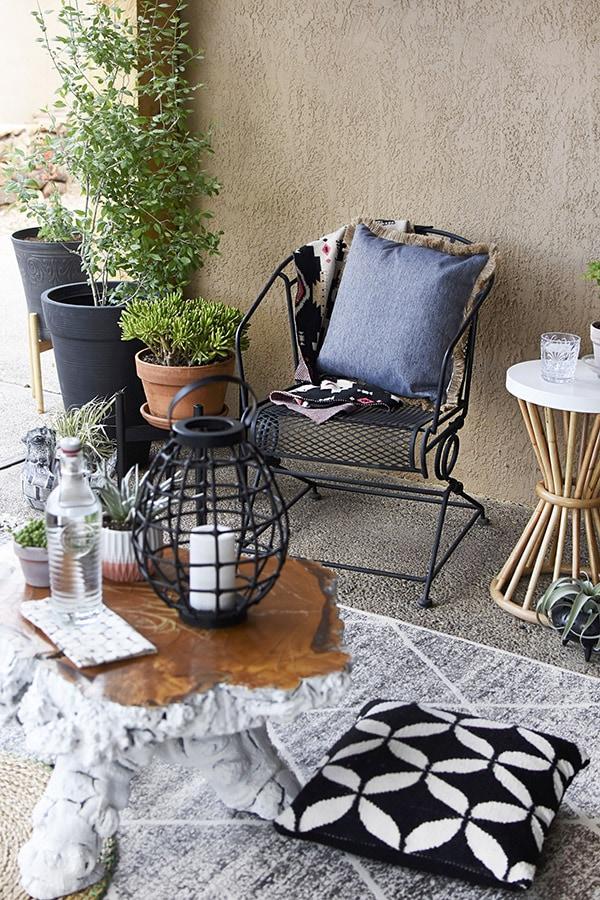 Backyard plant pots