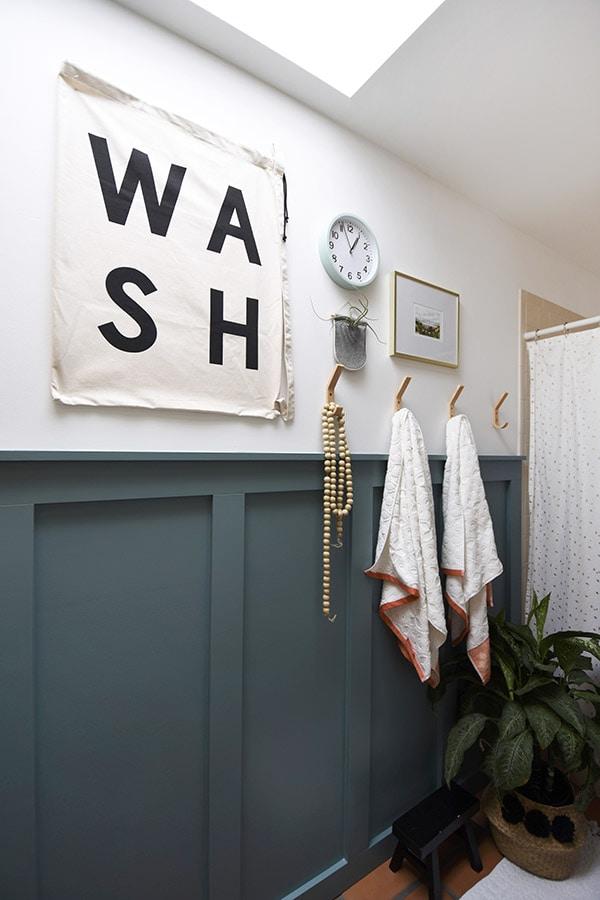 Hallway Bathroom Modern Board and Batten, deep teal