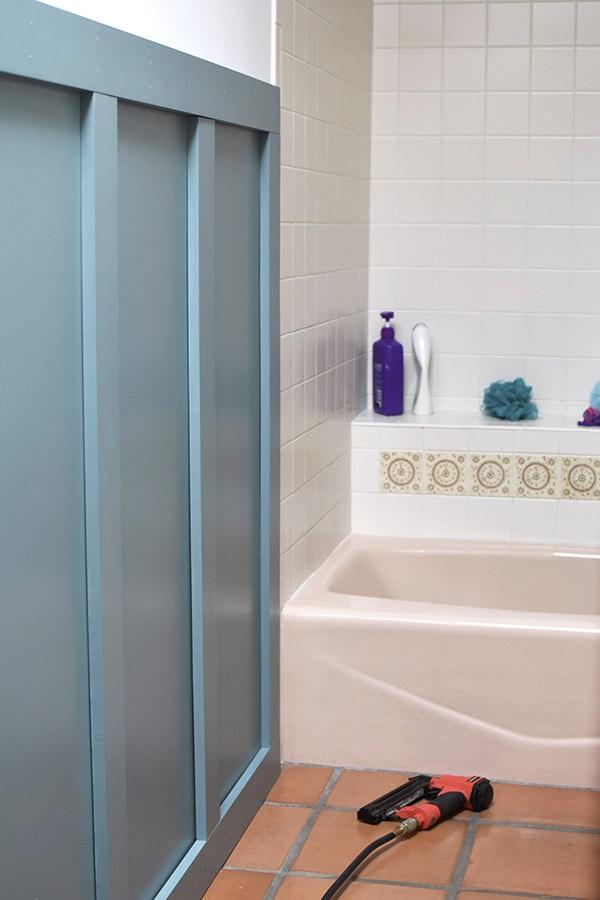 Bathroom Update-Behr-nail gun trim board and batten