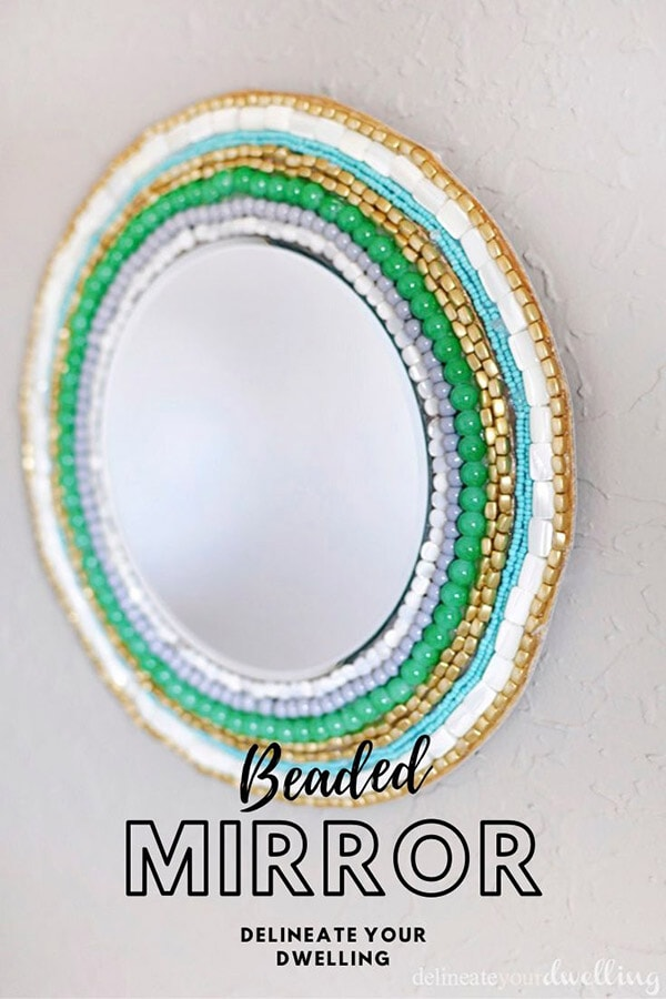 Green, White and Blue Beaded Wall Mirror