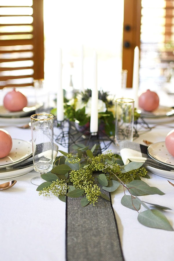 Thanksgiving Table in black, white, green + pink