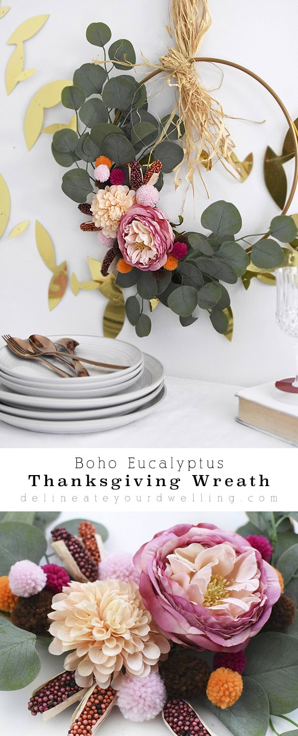 Simple Boho Eucalyptus Thanksgiving Wreath