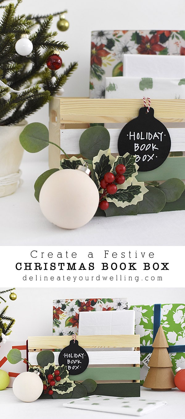 Holly, Chalkboard Christmas Book Box