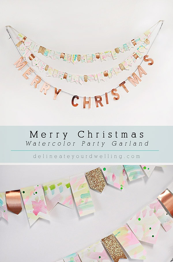 Colorful Christmas Watercolor Garland