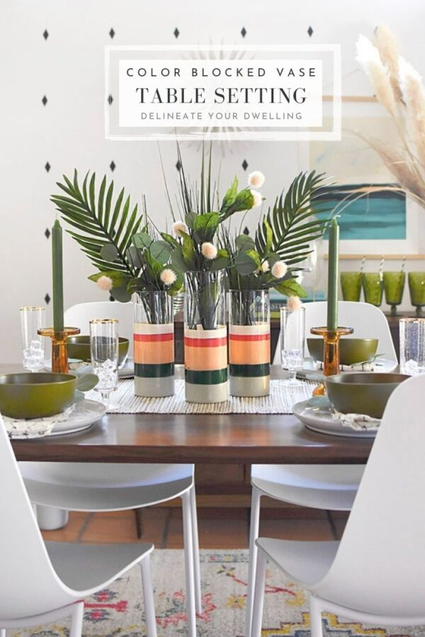 Color Block Vase Table Setting