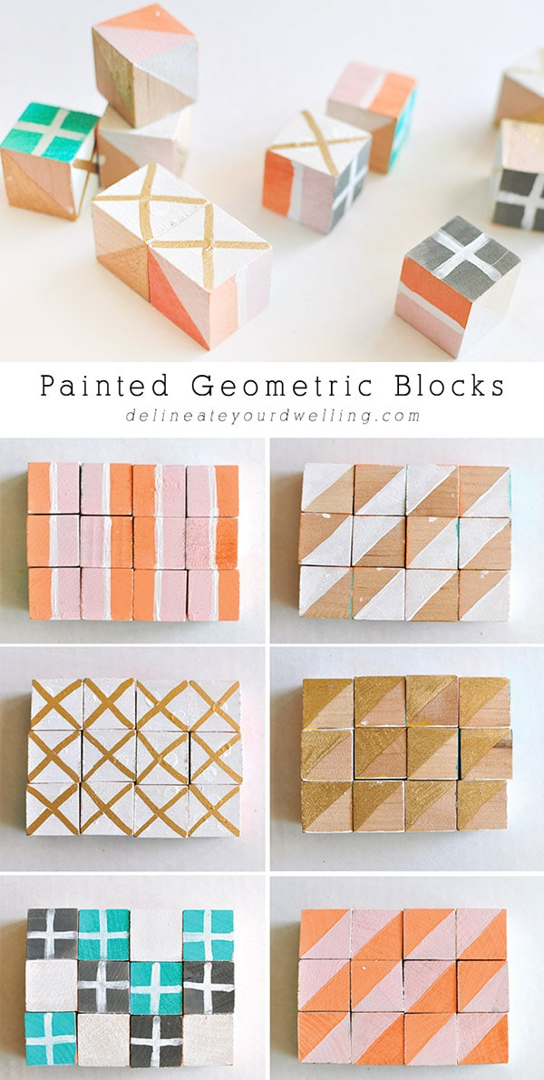 Check out all the fun and colorful patterns you can create when making Painted Geometric Blocks!  These are great to set out for decoration or to give as a baby gift. Delineate your dwelling #paintedblocks