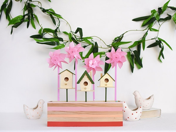 Learn how to make Colorful Spring Birdhouses! Perfect decor for your home. Delineate Your Dwelling #colorfulspringbirdhouse #colorfulbirdhouse
