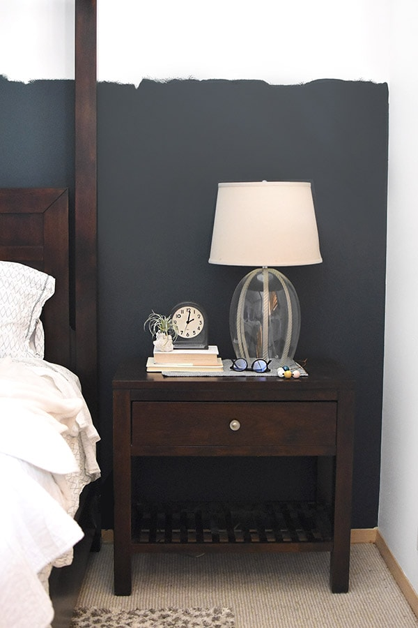 Bedroom Nightstand Teal Paint Wall