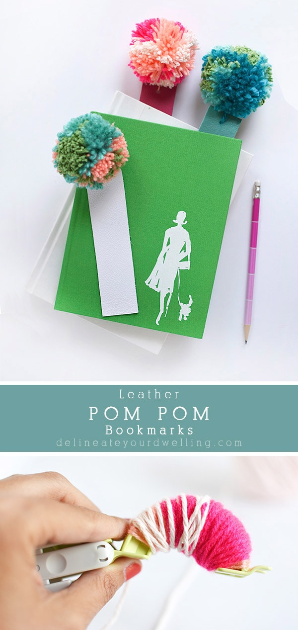 Leather and Yarn pom pom bookmarks