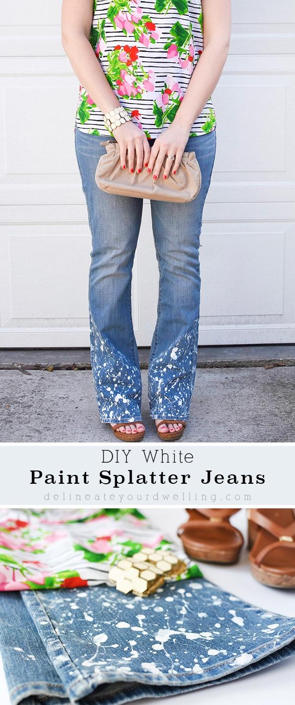 DIY-Paint-Splatter-Flare Leg Jeans