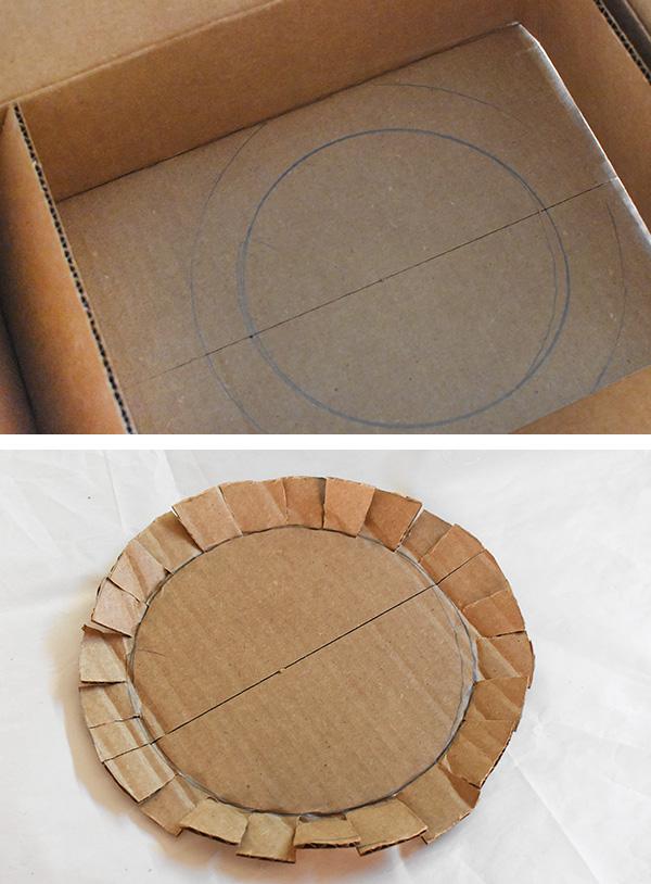 DIY Ring Planter, cutting cardboard
