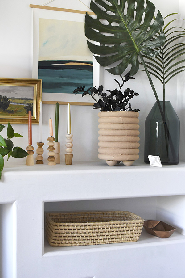 DIY Ring Planter on shelf