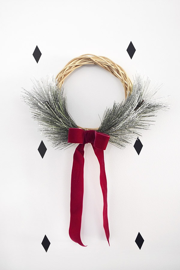 Evergreen Wreath with velvet ribbon
